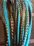 4-6 Turquoise with Brown & Grizzly Feathers for Hair Extensions Bonded Together At the Tip Salon Quality Feathers! 5 Feathers by SEXY SPARKLES