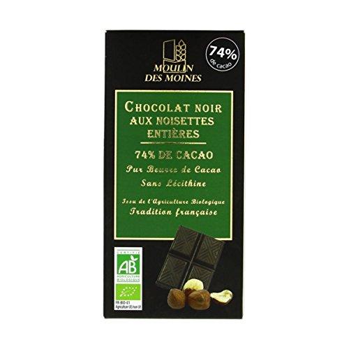 Moulin Des Moines - Chocolat Noir 74% Aux Noisettes Entières 100G Bio - Lot De 4 - Livraison Rapide En France - Prix Par Lot