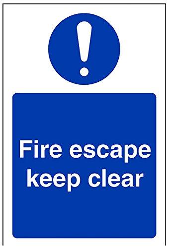 """Preisvergleich Produktbild vsafety 18038 ag-s Gebotszeichen,  """"Fire Escape Keep Clear, """" selbstklebend,  Hochformat,  100 mm x 150 mm,  blau"""