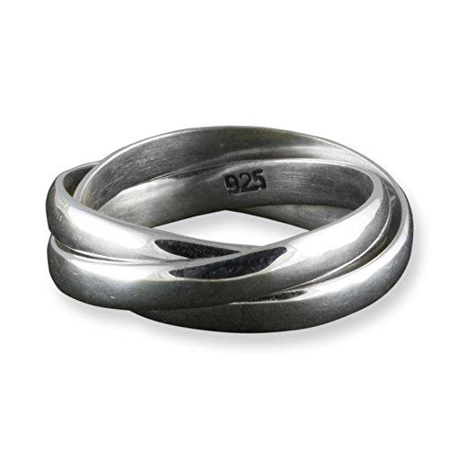 ISLAND PIERCINGS Edler 925er Silber 3er Ring Dreierring Handarbeit SR129-21mm