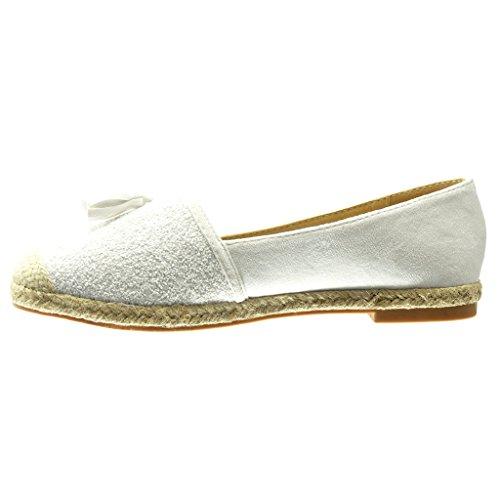 Angkorly Damen Schuhe Espadrilles Mokassin - Slip-on - Fransen - Bommel - Glitzer Blockabsatz 2 cm Weiß