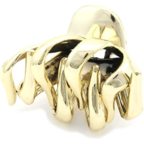 Zest 6.5cm Wide Curvy Hair Claw Jaw Clip Hair Accessory Gold by Zest