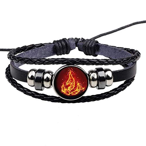 Armbänder Für Herren Avatar Die Letzte Airbender Fire Nation Logo Schwarz Leder Armband Anime Schmuck Aang Prince Zuko Cosplay Zubehör (Aang Cosplay Kostüm)