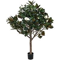 Magnolia decorativa, 780 foglie, 12 fiori, crema, tronco naturale, 150 cm - Magnolia artificiale / Pianta artificiale - artplants