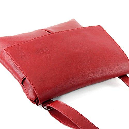 Sac à bandoulière italien Messenger sac à bandoulière femme cuir véritable T63 Rouge
