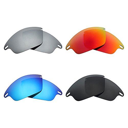 MRY, polarisierte Ersatzgläser für Oakley Fast Jacket-Sonnenbrillen, Stealth-Schwarz/Feuerrot/Eisblau/Silber-Titan, 4Paar