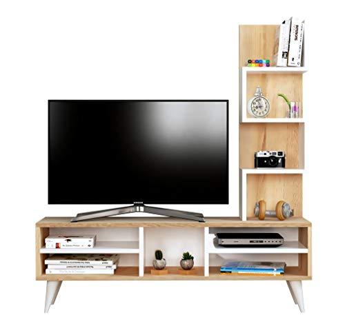 LILY Ensembles de meubles de salon - Blanc / Sonoma - Meuble TV dans es couleurs brillantes avec étagères en moderne design