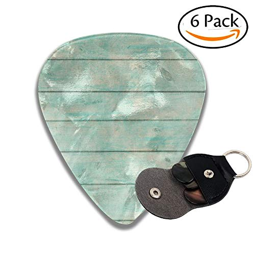 tic Old Plank Background In Turquoise Mint And Beige Colors With Textured Colorful Celluloid Guitar Picks Plectrums For Guitar Bass 6 Pack.96mm ()