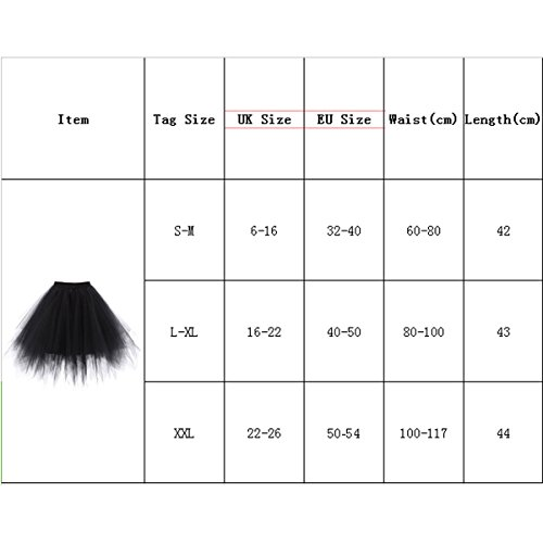LSCY 1950s Vintage Schicht Gaze Petticoat Tutu Tutus Fluffy Schaum Falten Rock Tüllrock Kurz Ballett Black