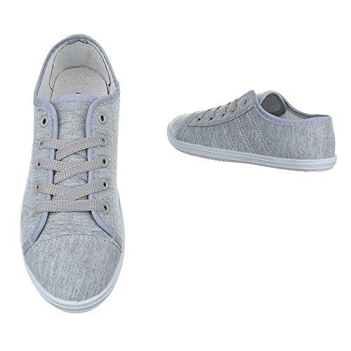 Damen Schuhe Freizeitschuhe Schnürer Low-top Sneaker Grau Grau