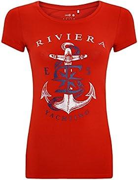 oodji Ultra Mujer Camiseta con Estampado de Estilo Marinero