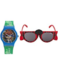 Fantasy World Blue Watch And Red Sunglass Combo For Boys And Girls - B078BCB87H