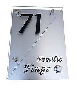 Design moderne kA12 quema plaque de sonnette avec numéro de maison en acier inoxydable avec gravur- aluminium design plexiglas acrylique de la marque gravUp-gravure-lED-avec bouton-poussoir sans supplément possible