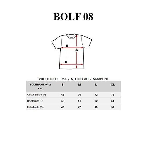 BOLF Herren T-Shirt Tee Kurzarm Sommer Classic Aufdruck Slim Kapuze BOLF 08 3C3 Motiv Grau