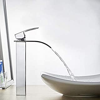 Tall Waterfall Counter Top Basin Mixer Tap Chrome Bathroom Sink Faucet Single Handle Single Hole