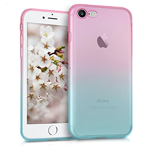 kwmobile Apple iPhone 7/8 Hülle - Handyhülle für Apple iPhone 7/8 - Handy Case in Pink Blau Transparent