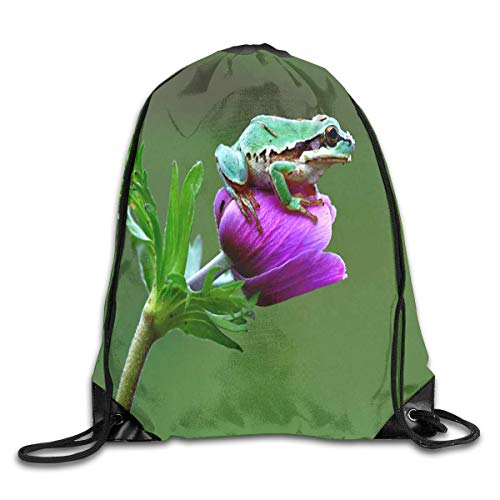 ZHIZIQIU Drawstring Bag Mr Frog Animals Reptiles Bud Flower Womens Gym Backpack Fabulous Mens Travel Small Bags for Girls Fabulous Sheer