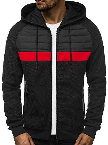 OZONEE Herren Kapuzenpullover Sweatjacke Sweatshirt Langarm Hoodie Sport Style Casual Fitness Training Motiv 777/7190B SCHWARZ 2XL