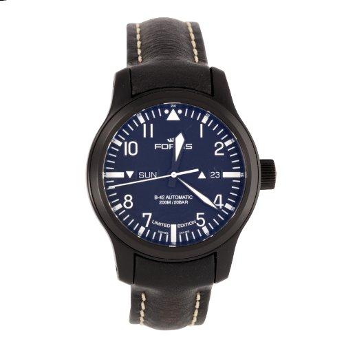 Fortis B-42 - Reloj de automático para hombre, con correa de cuero, color negro