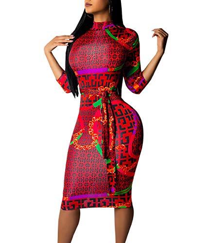 JackenLOVE Frühling und Herbst Midi Kleider Damen 3/4 Arm Kleid mit Bandagen Wickelkleider Mode Afrikanisch Druck Etui Kleider Tunikakleid Cocktailkleid Abendkleider Partykleider (Abendkleider Afrikanische)