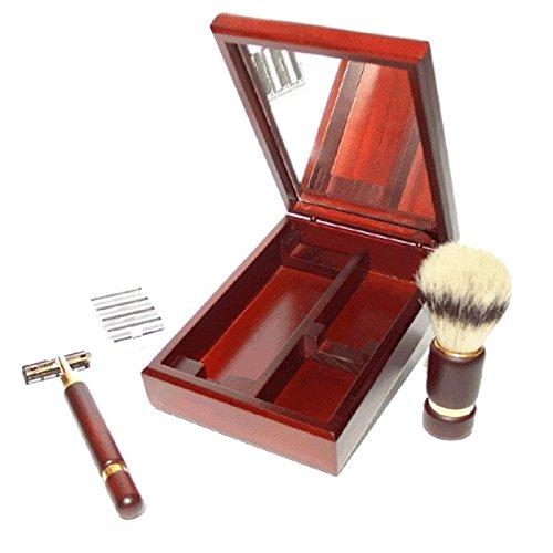 Set afeitado estuche madera espejo. T-01