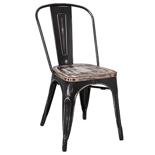 lo+demoda Antique Terek Vintage - Silla, acero, 160 x 80 x 73 cm, color negro