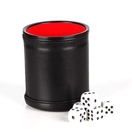 HuaYang Filz Interieur PU rot Leder Würfelbecher + 5 Dot Würfel Erwachsene Spielen Spielzeug