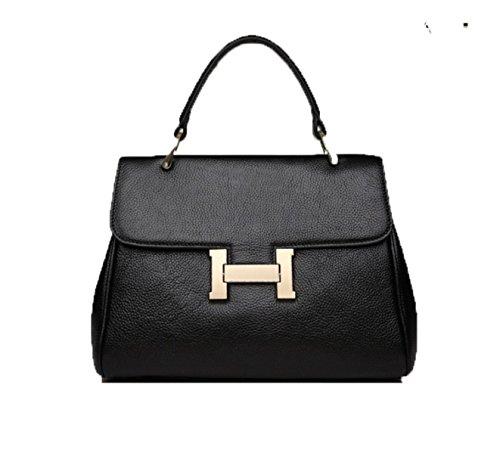 PACK H Borse Per Fibbia Leather Trend Ladies Handbags Messenger Packet,B:Black B:Black