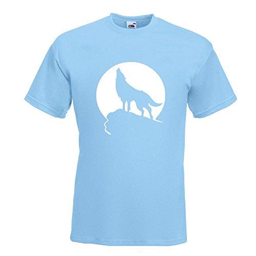 KIWISTAR - Heulender Wolf vor Mond T-Shirt in 15 verschiedenen Farben - Herren Funshirt bedruckt Design Sprüche Spruch Motive Oberteil Baumwolle Print Größe S M L XL XXL Himmelblau