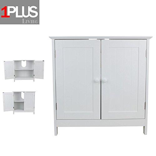 1PLUS Waschbeckenunterschrank Marbella aus Holz in 2 Größen, Weiß (48 x 30 x 60 cm)