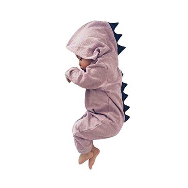 PAOLIAN 3-18 Meses Newborn Baby Boy Solid Color Dinosaur Hooded Romper Jumpsuit Outfits Clothes 1