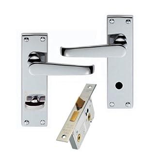 Victorian Polished Chrome Bathroom Door Handles + 64mm Lock Set