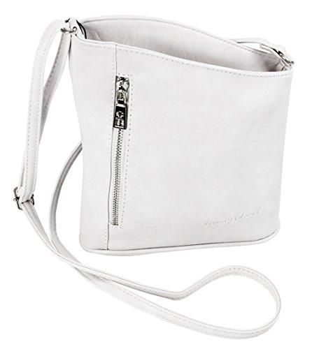 Jennifer Jones Taschen Damen Damentasche Handtasche Schultertasche Umhängetasche Tasche klein Crossbody Bag weiß (3107) (Tasche Weiß-handtasche)
