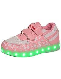 7c2ff4947492 Gaorui Damen Mädchen LED-Licht Leuchtende Sneakers Stern Fluorescence  Sportschuhe Multi-Color-Blink Turnschuhe mit USB 3 Farbe,…