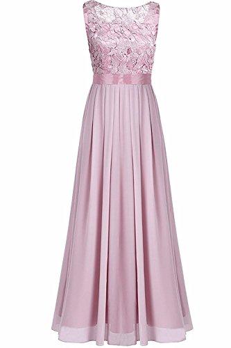 Rosen Langes Kleid (YiZYiF Elegante Damen Kleid Spitzen Abendkleid Cocktailkleid Partykleider Festliche Hochzeit Brautjungfernkleid Chiffon Langes Maxi Kleider Gr. 36-46 Rosa ( Dusty Rose ) EU 36 (Herstellergröße 4))