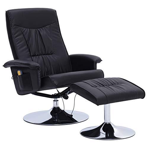 vidaXL Massagesessel mit Fußhocker Wärmefunktion Relaxsessel Fernsehsessel TV Sessel Polstersessel Ruhesessel Liegesessel Liegestuhl Schwarz Kunstleder