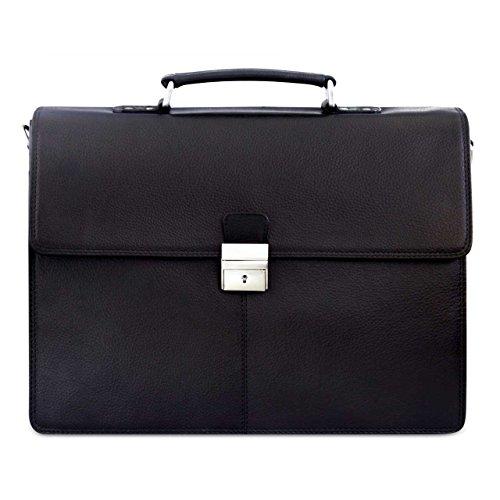 STILORD Herren Aktentasche Dokumententasche Laptoptasche Business Büro Tasche mit Schultergurt echt Leder Schwarz (Leder Schwarze Aktentasche)