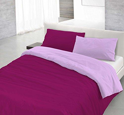 Italian Bed Linen 8058575000163 Parure Copri Piumino con Sacco e Federe in Tinta Unita Doubleface, Lilla/Prugna, 100% Cotone, Singolo, 150 x 200 x 1 cm