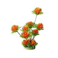 Blancho Emulational Plants Aquarium Decor Fish Tank Decoration,Orange Flower