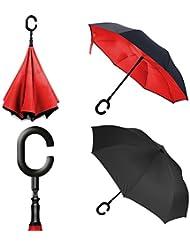 Parapluie repliable à l'épreuve du vent, à 2 couches en forme de C et mains libres, et protection ultime contre la pluie et les vents forts. Performance optimale, avec bouton poussoir métallique, un boîtier plus large et support autonome lorsqu'il n'est pas utilisé.