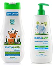 Mamaearth Talc Free Organic Dusting Powder 200g for Babies with Gentle Cleansing Shampoo for Babies 400 ml (Combo)