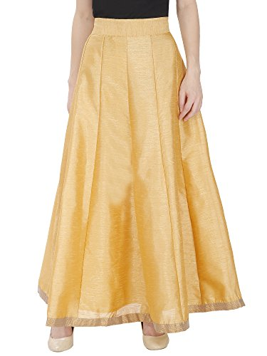 DAMEN MODE Women Golden Solid Silk Skirt (Core Gold Free Size)