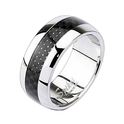 Mianova Band Ring Edelstahl poliert Carbon Inlay Freundschaftsring Herrenring Damenring Partnerring Damen Herren Silber Schwarz Größe 57 (18.1)