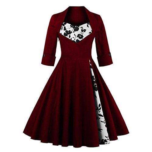 Frauen Herbst Vintage Kleid, Hansee Fashion Style V-Ausschnitt Rockabilly Abend Prom Swing Dreiviertel-Ärmeln Kleid (L, Wein) (Empire-taille-tops Tragen)