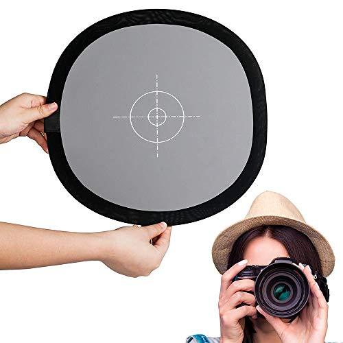 Fotover Graukarte/Weißabgleich Karte 24x24 Zoll (60x60cm) Portable Focus Board Zwei Seiten Double Face 18% Grau/Weiß Balance Referenzkarte mit Tragetasche für Canon Nikon Sony DSLR Kamera -