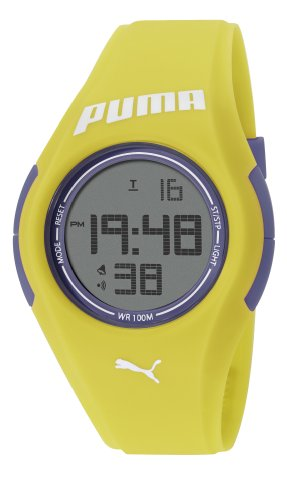 Puma Tonic Unisex Digital Watch with LCD Dial Digital Display and Yellow PU Strap PU911191005