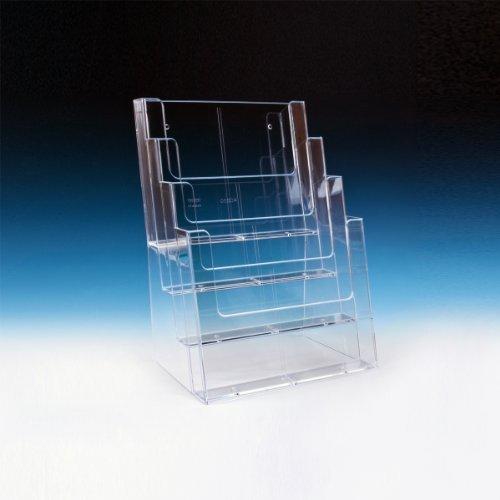 taymar Tisch-Prospektständer, DIN A4, 4 Etagen, Transparent