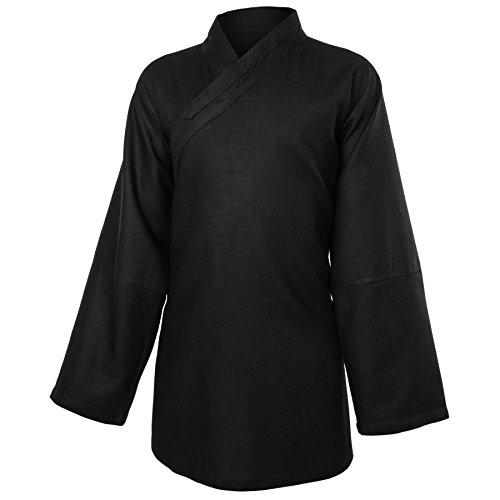 wu designs Leinen (Schwer) Kung Fu & Tai Chi Shirt Diagonaler Kragen Langarm - Taiji Anzug Schwarz 180