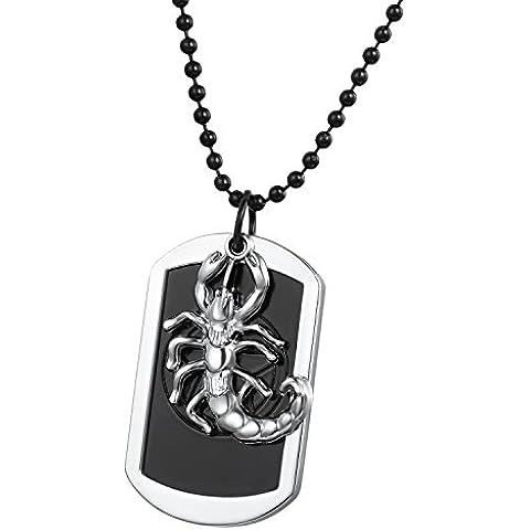Flongo Gioielli Collane dell'uomo Dog Tag Militare, Ancora piatto di