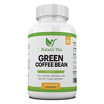 Green Coffee Bean Maximum Strength 1000mg Extract 50% Chlorogenic Acid - All Natural Weight Loss For Women & Men With Antioxidant Benefits - Effective Fat Burner, Boost Metabolism & Energy - 120 Capsules from Nature's Vita